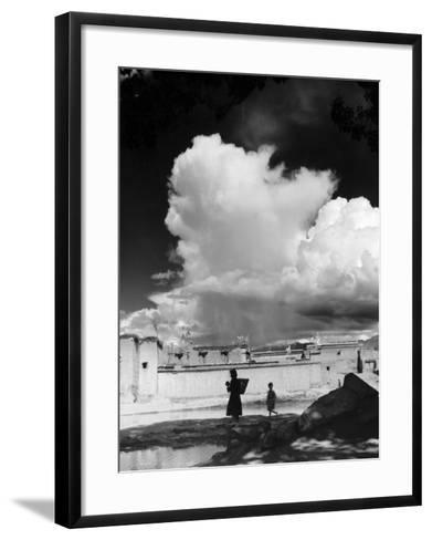 Monsoon Clouds Over the Houses of Gyantse, Tibet--Framed Art Print