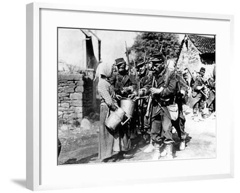 A Group of French Soldiers, They Quench Their Thirst in a Village of the Belgian Border--Framed Art Print