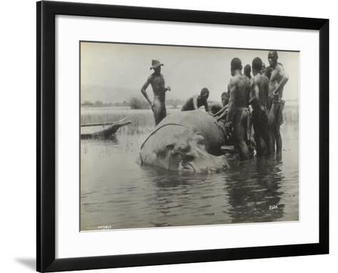 Natives During the Capture of a Hippopotamus--Framed Art Print