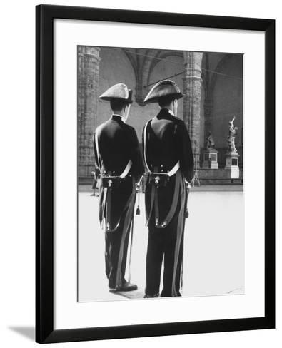 Carabinieri in the Piazze Della Signoria in Florence-Vincenzo Balocchi-Framed Art Print