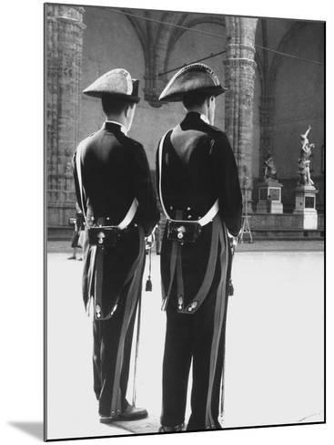 Carabinieri in the Piazze Della Signoria in Florence-Vincenzo Balocchi-Mounted Photographic Print