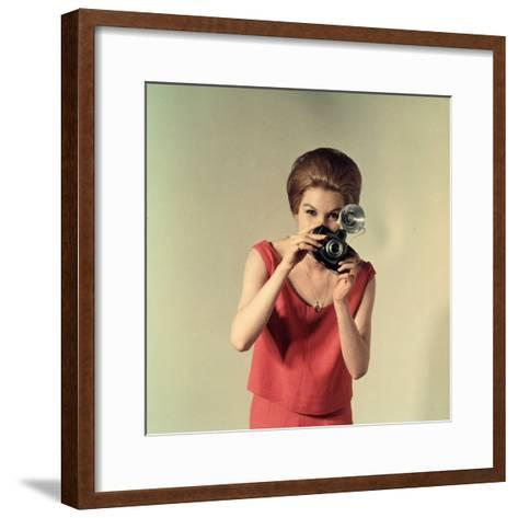 Young Woman Taking a Photograph-A^ Villani-Framed Art Print