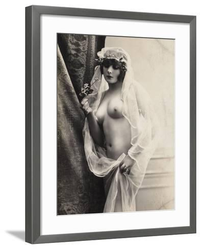 A Young Woman Posing Naked: a Veil Covers Her Hair and Comes Down Her Body--Framed Art Print