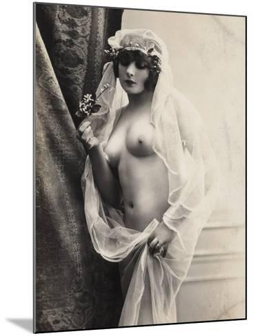 A Young Woman Posing Naked: a Veil Covers Her Hair and Comes Down Her Body--Mounted Photographic Print