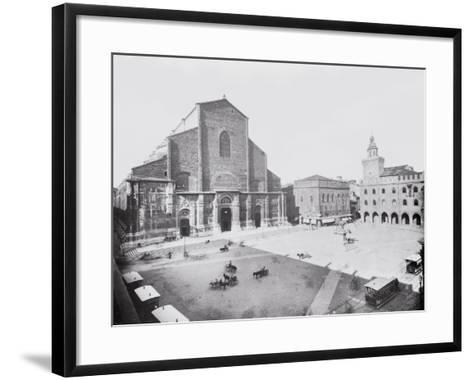 Piazza Maggiore and a View of the Church of San Petronio in Bologna-A^ Villani-Framed Art Print