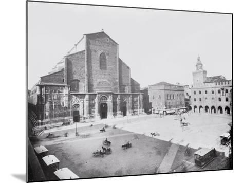 Piazza Maggiore and a View of the Church of San Petronio in Bologna-A^ Villani-Mounted Photographic Print