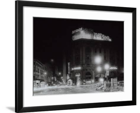 Night City View with Neon Signs of the New Fiat 500 Located on the Roof of a Building-A^ Villani-Framed Art Print