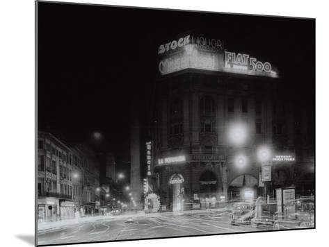 Night City View with Neon Signs of the New Fiat 500 Located on the Roof of a Building-A^ Villani-Mounted Photographic Print