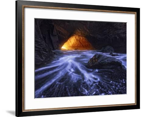 A Sea Tunnel at Cape Kiwanda, Oregon Lights Up under Just the Right Conditions.-Miles Morgan-Framed Art Print