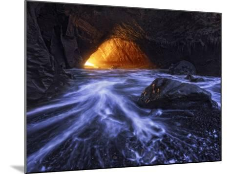 A Sea Tunnel at Cape Kiwanda, Oregon Lights Up under Just the Right Conditions.-Miles Morgan-Mounted Photographic Print