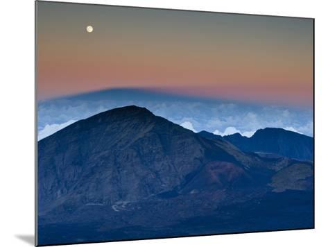 Moonrise over the Haleakala Crater,  Haleakala National Park, Maui, Hawaii.-Ian Shive-Mounted Photographic Print