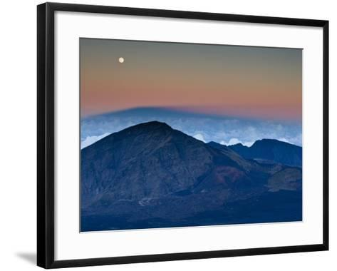 Moonrise over the Haleakala Crater,  Haleakala National Park, Maui, Hawaii.-Ian Shive-Framed Art Print