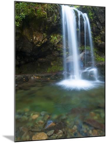 Smoky Mountain Natioanl Park: a Hiker Running Behind Grotto Falls-Brad Beck-Mounted Photographic Print
