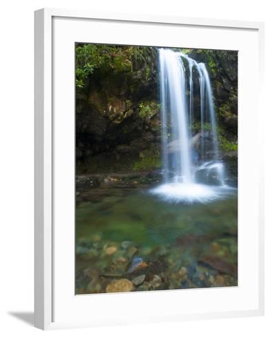 Smoky Mountain Natioanl Park: a Hiker Running Behind Grotto Falls-Brad Beck-Framed Art Print