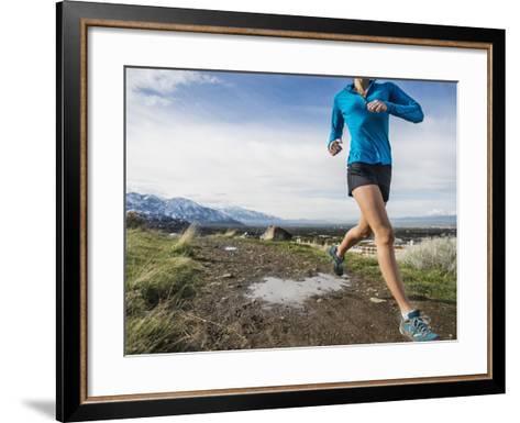 Women Trail Runner, Salt Lake City, Utah,-Brandon Flint-Framed Art Print