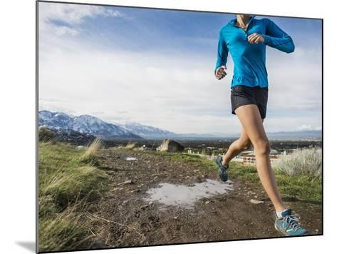 Women Trail Runner, Salt Lake City, Utah,-Brandon Flint-Mounted Photographic Print
