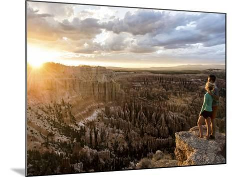A Couple at Sunset in Bryce Canyon National Park, Utah, in the Summer Overlooking the Canyon-Brandon Flint-Mounted Photographic Print