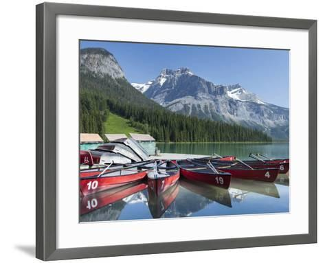Boat Dock and Canoes for Rent on Emerald Lake, Yoho National Park,British Columbia-Howard Newcomb-Framed Art Print