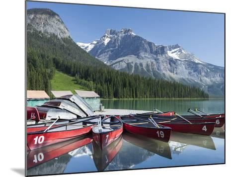 Boat Dock and Canoes for Rent on Emerald Lake, Yoho National Park,British Columbia-Howard Newcomb-Mounted Photographic Print