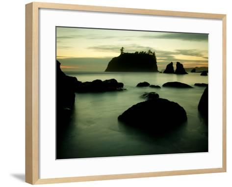 Olympic National Park, Wa: Sea Stacks Get Wrapped by the Incoming Tide-Brad Beck-Framed Art Print