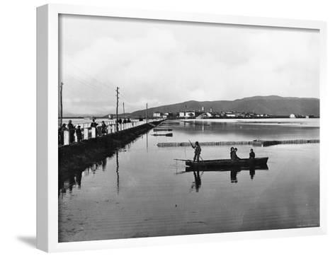 Orbetello. Panorama with the Dam--Framed Art Print
