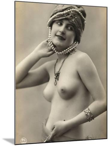 Portrait of a Barebreasted Young Woman, Wearing a Pearl-Decorated Hat--Mounted Photographic Print