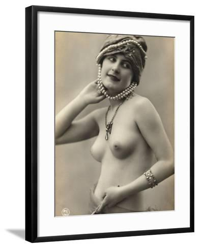 Portrait of a Barebreasted Young Woman, Wearing a Pearl-Decorated Hat--Framed Art Print