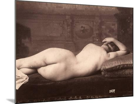 Portrait of a Nude Woman Lying on a Couch with Her Back to the Camera--Mounted Photographic Print