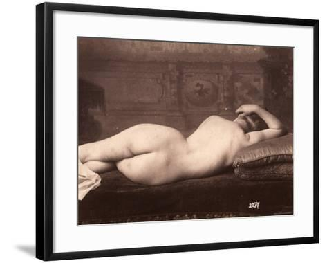 Portrait of a Nude Woman Lying on a Couch with Her Back to the Camera--Framed Art Print