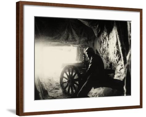 Italian Soldier in a Snow Cave on Monte Nero During World War I--Framed Art Print