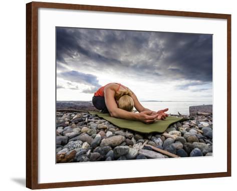 Yoga Position of Child's Pose in Lincoln Park - West Seattle, Washington-Dan Holz-Framed Art Print