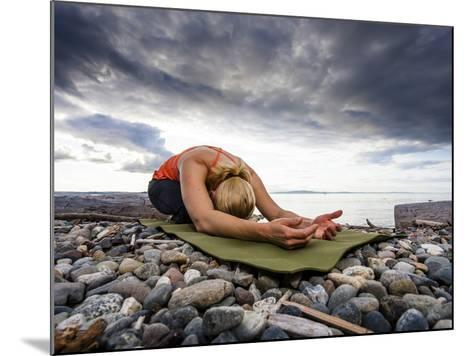 Yoga Position of Child's Pose in Lincoln Park - West Seattle, Washington-Dan Holz-Mounted Photographic Print