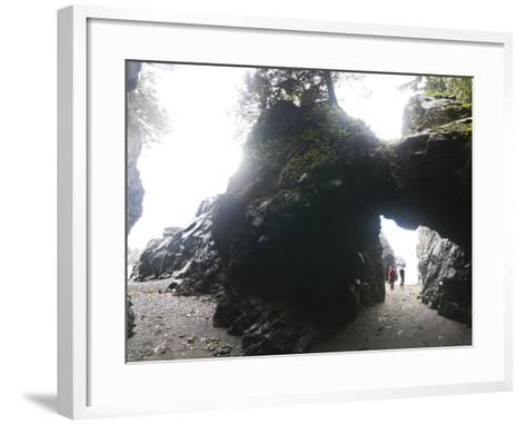 Exploring Sea Caves and Arches at Tsuquadra Point, West Coast Trail, British Columbia, Canada.-Ethan Welty-Framed Art Print