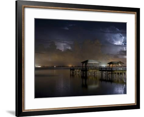 Lightning Off a Dock in Titusville, Florida Looking Towards Cape Canaveral-Melissa Southern-Framed Art Print