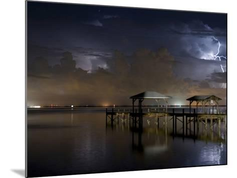 Lightning Off a Dock in Titusville, Florida Looking Towards Cape Canaveral-Melissa Southern-Mounted Photographic Print