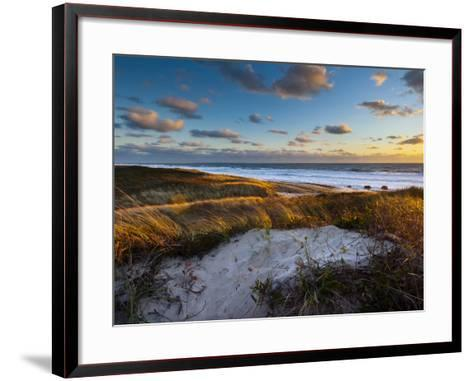 Sunset Along Moshup Beach, Martha's Vineyard with View of Ocean and Grass Blowing During Late Fall-James Shive-Framed Art Print