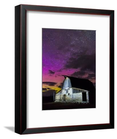 Northern Lights Above Moulton Barn-Mike Cavaroc-Framed Art Print