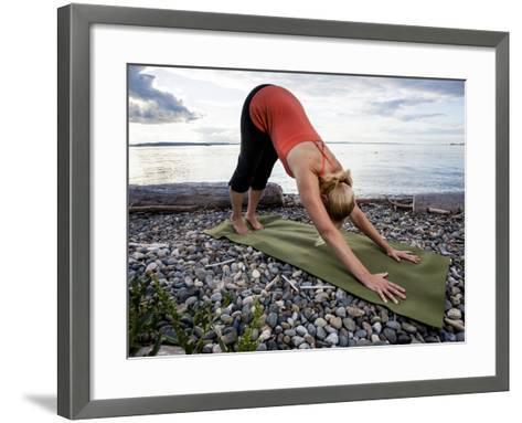Downward Dog Yoga Pose on the Beach of Lincoln Park - West Seattle, Washington-Dan Holz-Framed Art Print