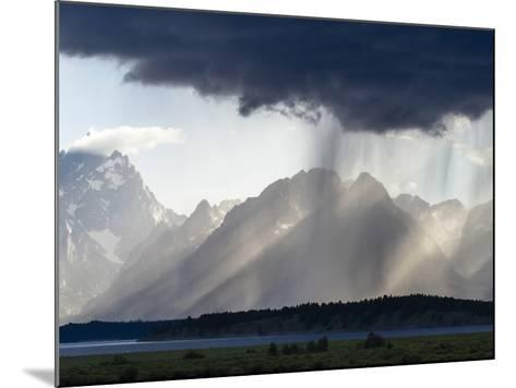 Sunlight and Rain over Tetons-Mike Cavaroc-Mounted Photographic Print