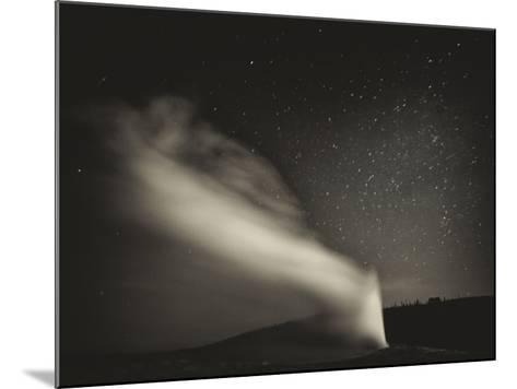 Old Faithful Geyer after Dark at Yellowstone National Park-Rebecca Gaal-Mounted Photographic Print