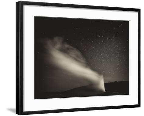 Old Faithful Geyer after Dark at Yellowstone National Park-Rebecca Gaal-Framed Art Print