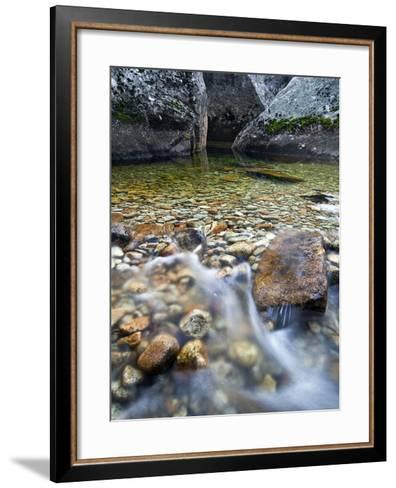 Slow Exposure of Water Flowing Below Vernal Falls with Granite Boulders in the Background.-Ian Shive-Framed Art Print