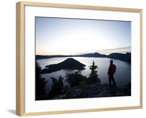 Young Man Hiking around Crater Lake National Park, Or.-Justin Bailie-Framed Art Print