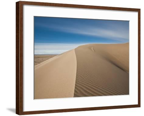 Great Sand Dunes, Co: a Sandy Ridge Line Vanishes into the Horizon-Brad Beck-Framed Art Print