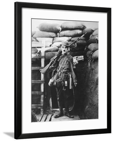 Charlie Chaplin, Shoulder Arms, 1918--Framed Art Print