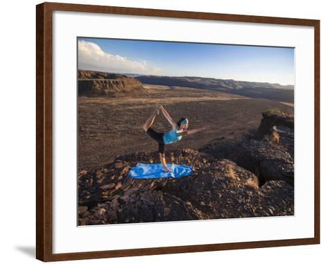 Dancer Pose During an Evening Outdoor Yoga Session at the Frenchman-Coulee in Central Washington.-Ben Herndon-Framed Art Print