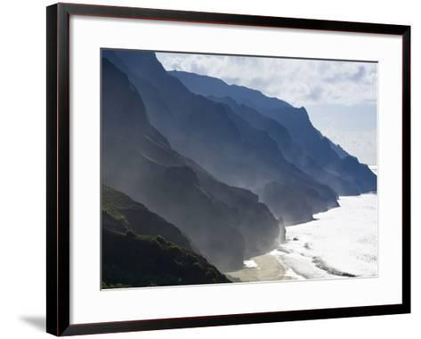 The Fluted Ridges of the Na Pali Coast Above the Crashing Surf on the North Shore of Kauai, Hawaii.-Sergio Ballivian-Framed Art Print