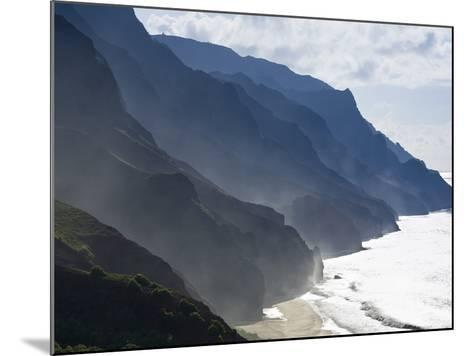 The Fluted Ridges of the Na Pali Coast Above the Crashing Surf on the North Shore of Kauai, Hawaii.-Sergio Ballivian-Mounted Photographic Print