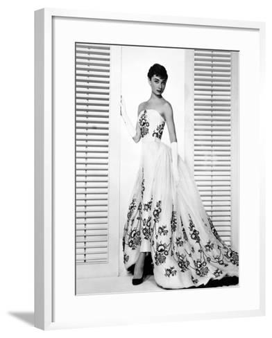 "Audrey Hepburn. ""Sabrina Fair"" 1954, ""Sabrina"" Directed by Billy Wilder. Custome by Edith Head--Framed Art Print"