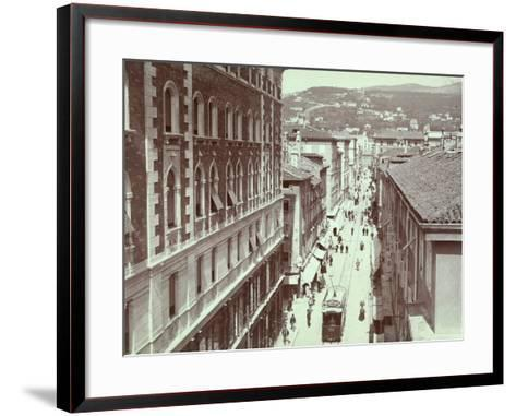 Aerial View of Via St. Antonio, in Trieste, with the Hill of Scorcola-Giuseppe Wulz-Framed Art Print